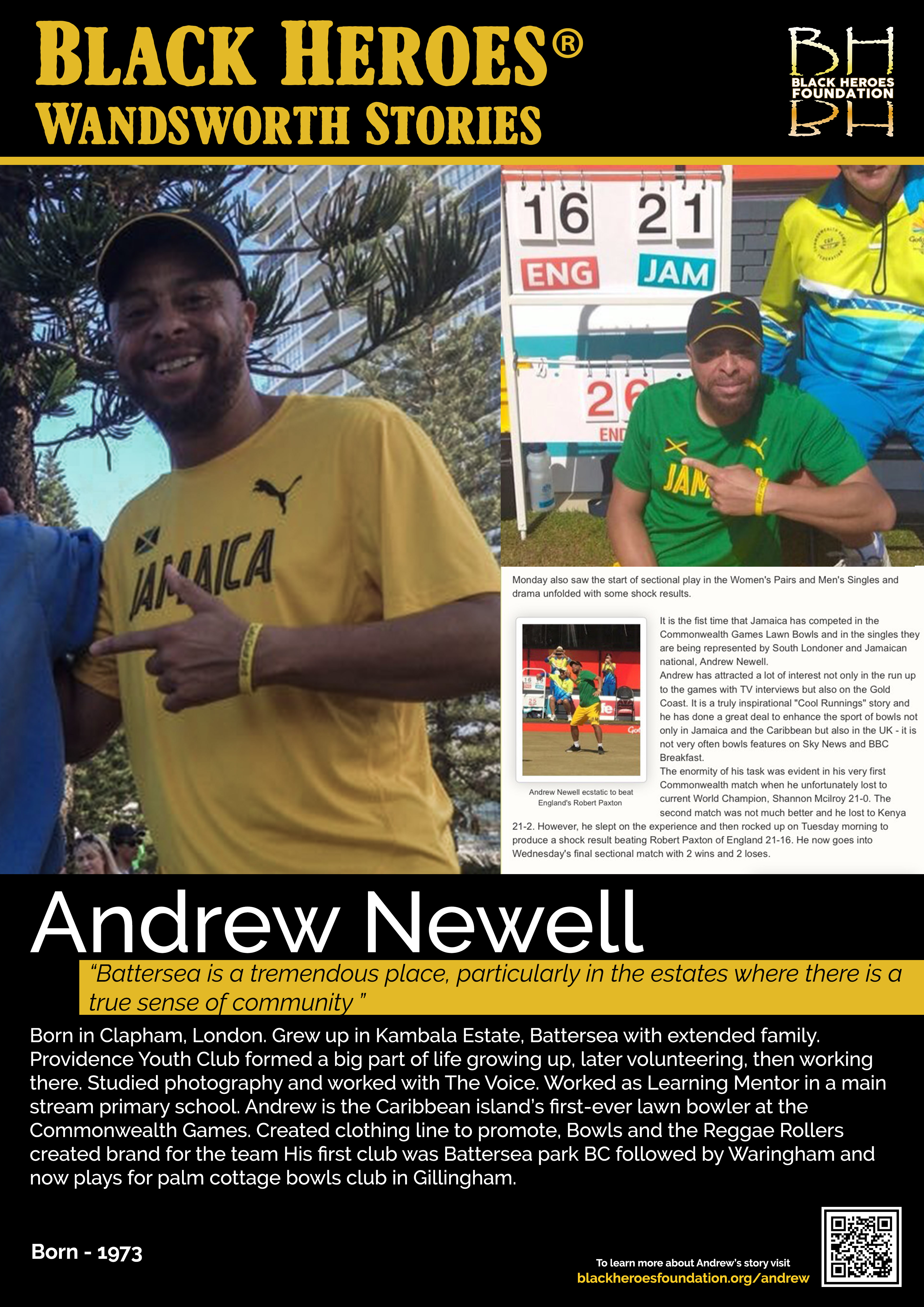 Andrew Newell representing Jamaica at Lawn Bowls in Commonwealth Games