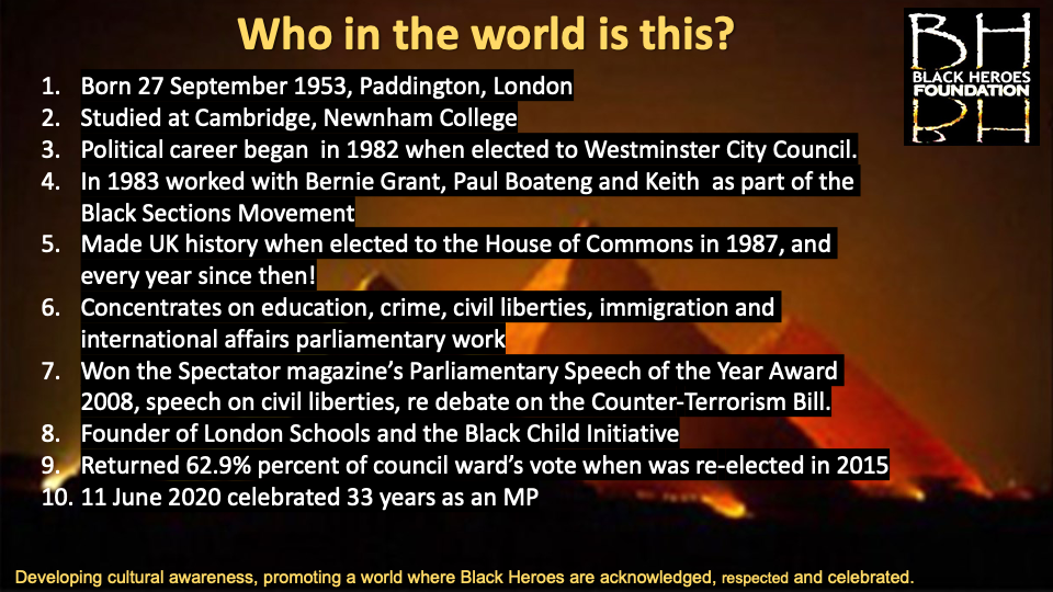 Diane Abbott who in this World Quiz